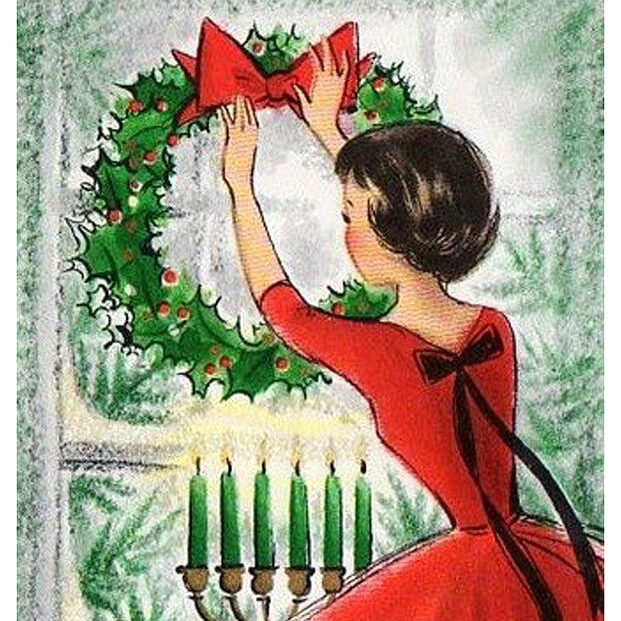 girl-with-wreath-vintage-greeting-cards-new-year-wishing-cards-siva-ganesh